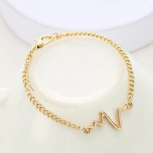 Jewelry - 🔥2 for $15🔥  Gold Color Heart Beat Bracelet